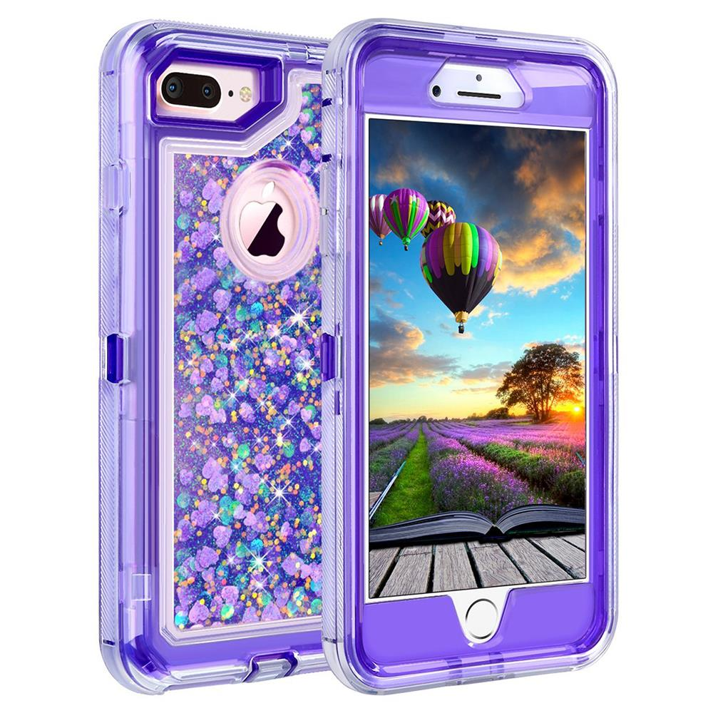 For Iphone Hybrid Bling Liquid Glitter Rubber Protective
