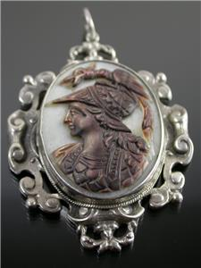 antique sterling silver carved cameo of achilles pendant c