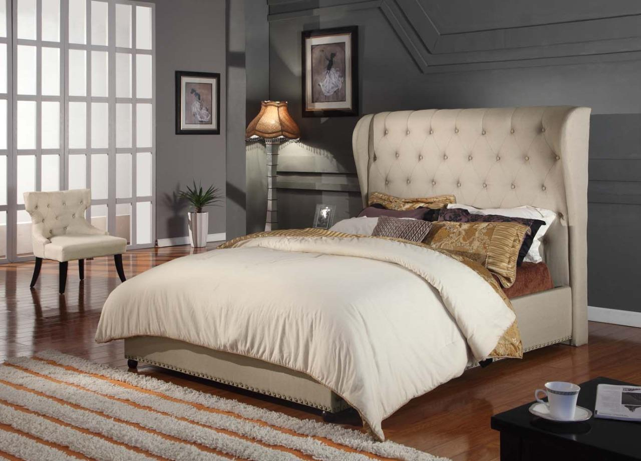 Bed Frame French Provincial Tufted Upholstered Wing Fabric