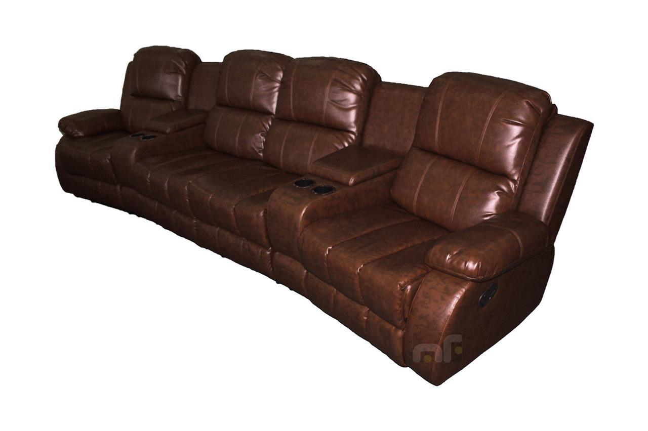 Atlanta 4 Seater Recliner Lounge Sofa Leather Couch Home