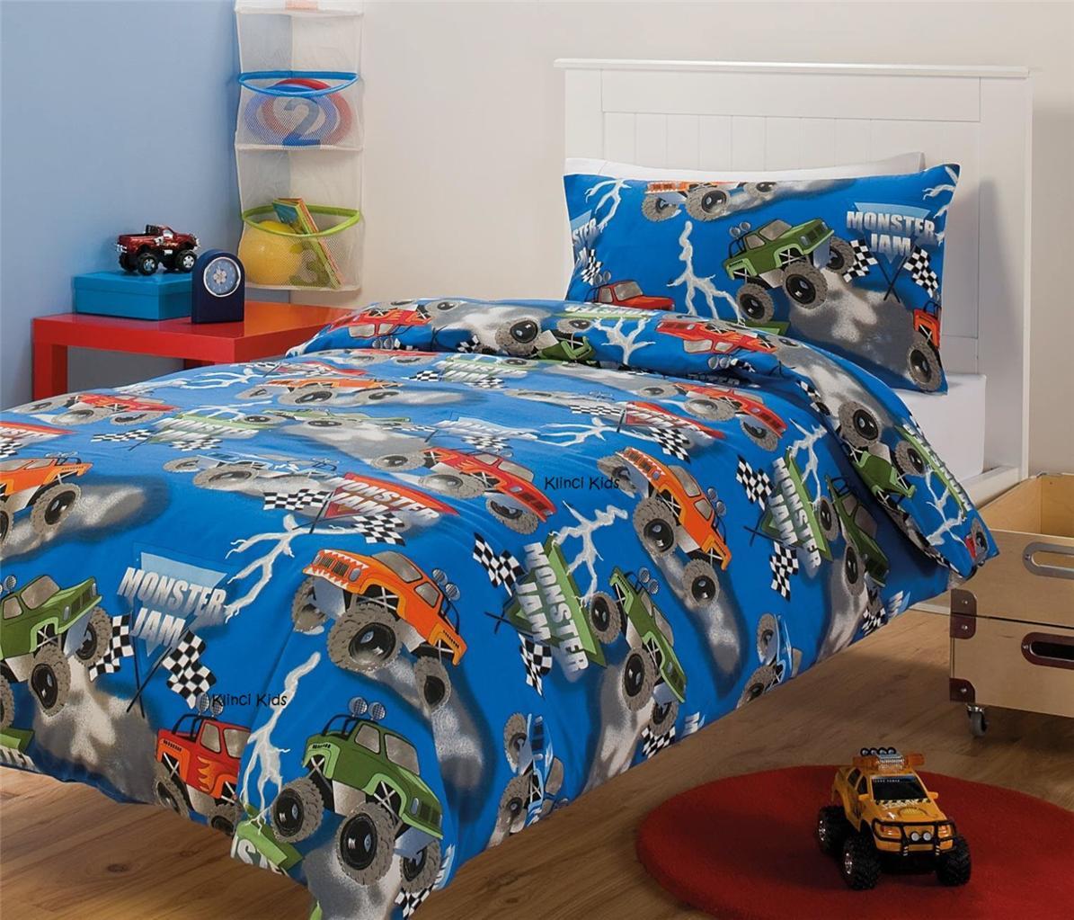 Monster Jam Monster Trucks Racing Single Twin Bed Quilt ...