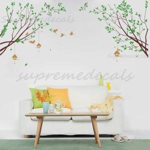 Spring Branch with Flying Birds removable vinyl art wall decals