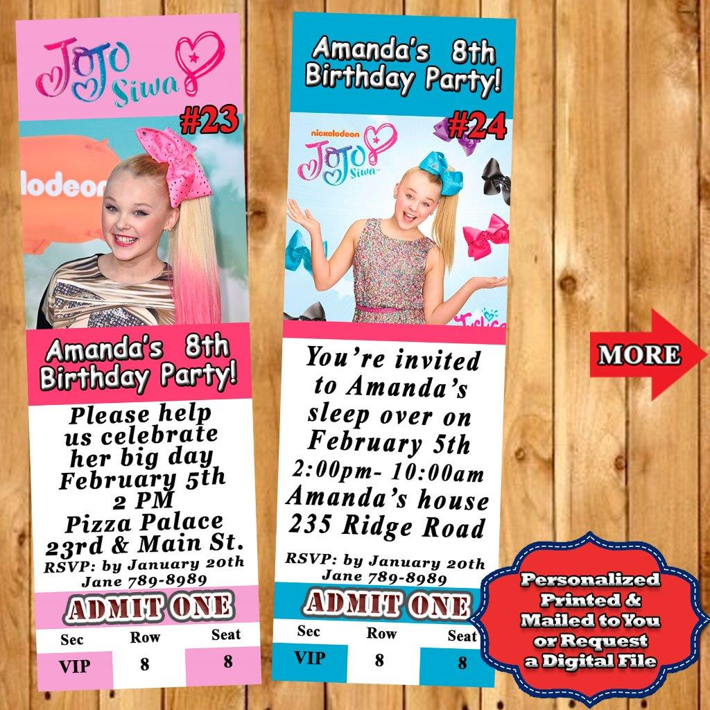 Jojo Siwa Birthday Invitations 10 Ea With Envelopes Or You Print