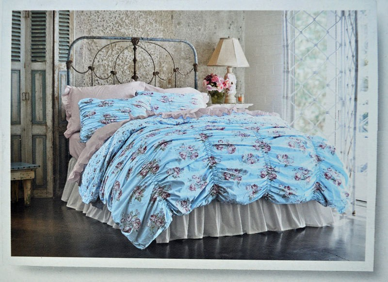 New Simply Shabby Chic Smocked Ruched Cabbage Rose Duvet Cover Sham Twin Blue