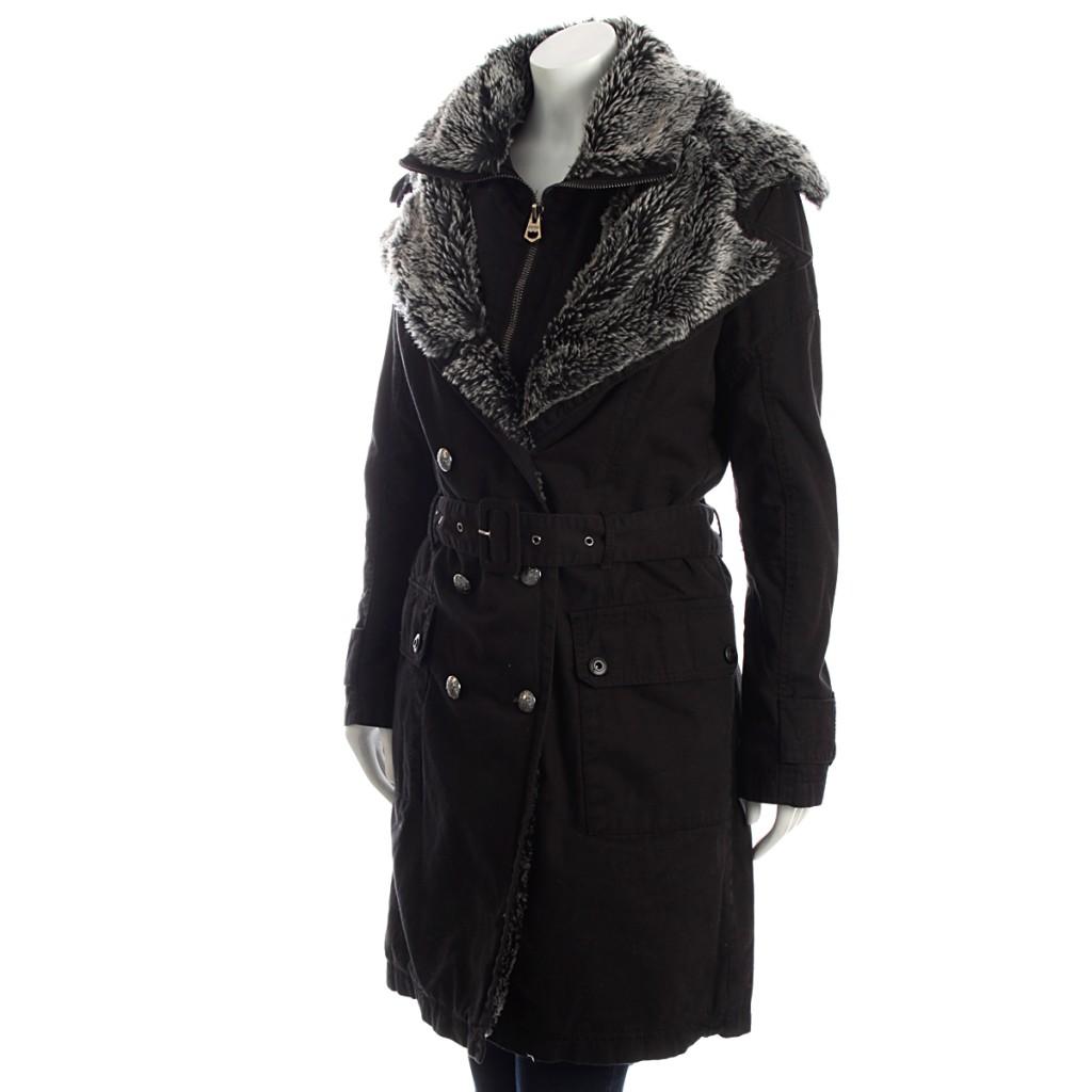 Women New Firetrap Fur Lined Black Winter Coat with Belt