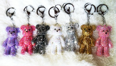 New Small Mini Teddy Bear Rhinestone Fashion Keychain Charm Accessory Red