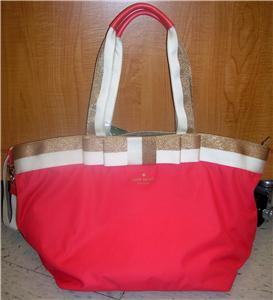 New Kate Spade Anabel Barrow Street Baby Bag Daquari w Gold White Trim