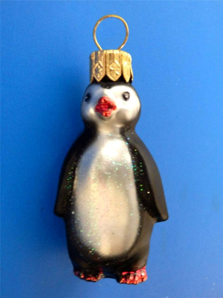 Mini Penguin European Blown Glass Christmas Tree Ornament ...