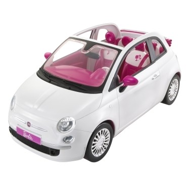 new barbie white fiat 500c sports car with doll pink. Black Bedroom Furniture Sets. Home Design Ideas