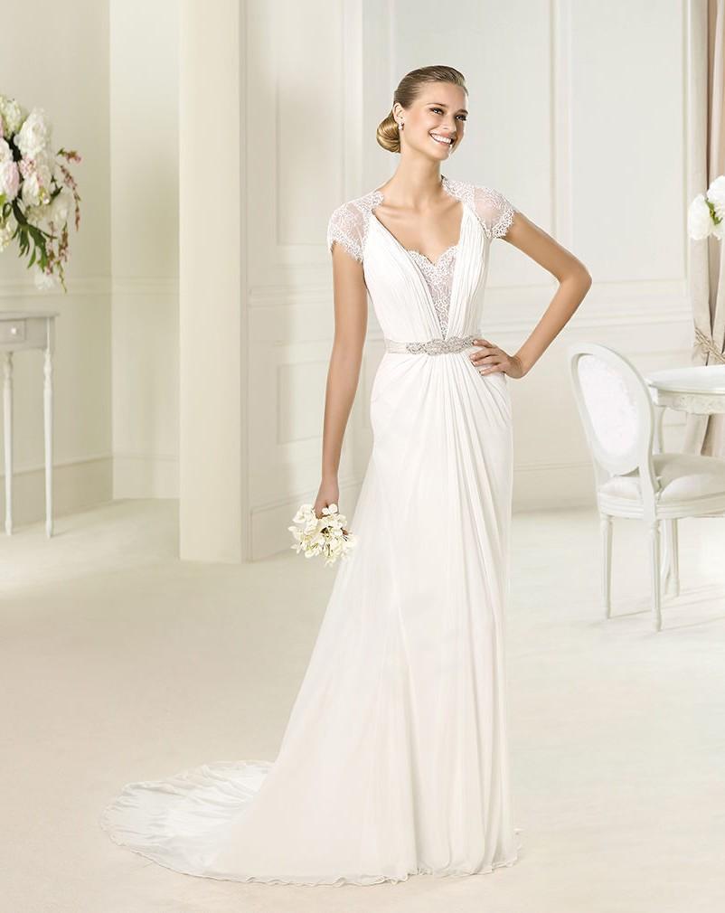 Grecian Style Chiffon Wedding Dress Lace Cap Sleeve Size6 ...
