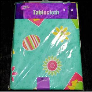 Easter Tablecloth Vinyl Flannel Back All Sizes Chicks Eggs