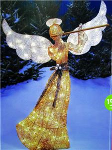 60 champagne gold light up angel wflutesparklechristmas yard decoration ew