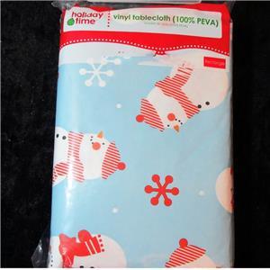 Christmas Tablecloth Snowflakes Amp Snowman Vinyl Flannel