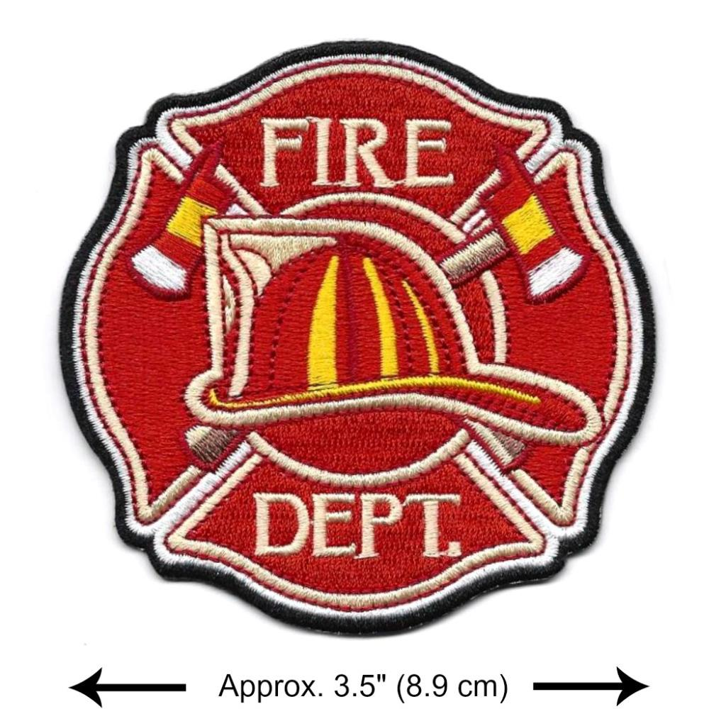 Fire Hat Set Small Iron On Embroidered Patch Firemen