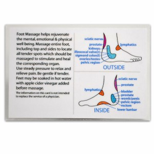 Reflexology Foot Massage Wallet Size Reference Card Chart Pocket