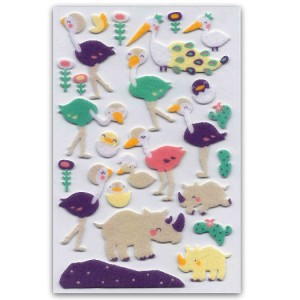 CUTE RHINO /& OSTRICH FELT STICKERS Sheet Animal Raised Craft Scrapbook Sticker