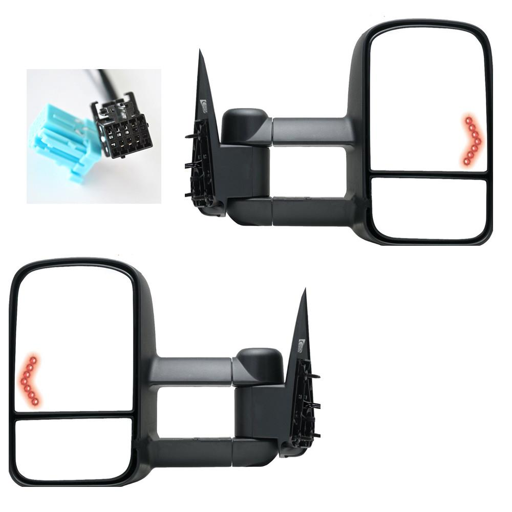 power heated led signals towing mirrors for 03 06 silverado sierra tahoe pickup ebay. Black Bedroom Furniture Sets. Home Design Ideas