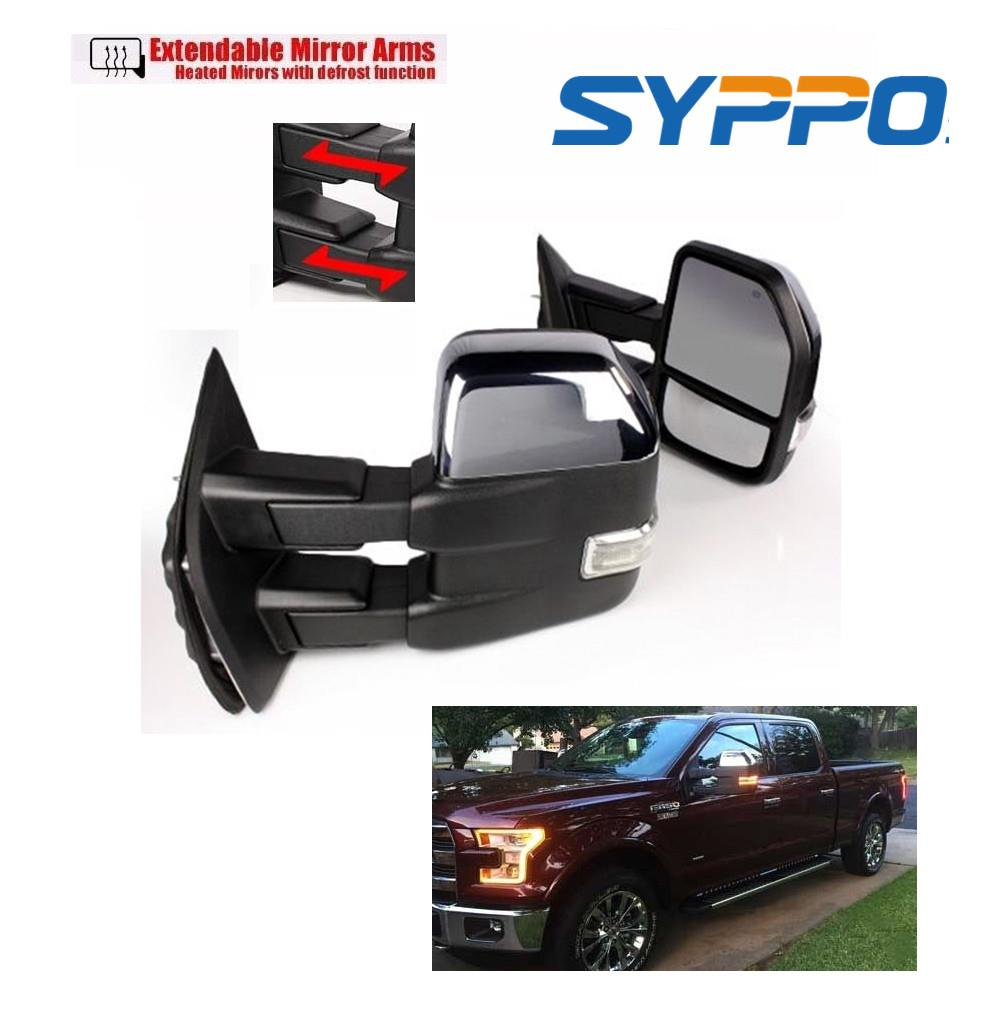 For 15 16 F150 Chrome Towing Mirrors Power Heated Turn