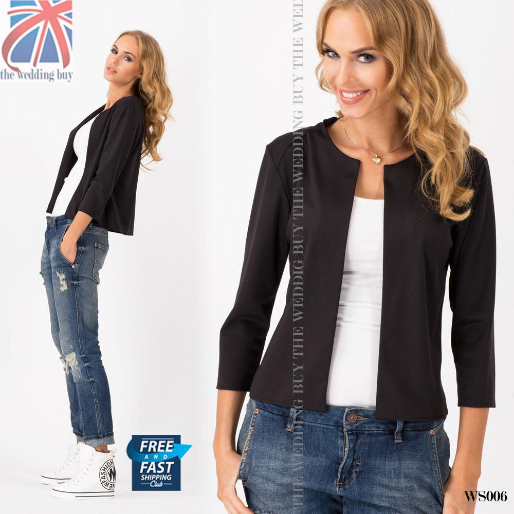 uk elegant classic women 39 s blazer casual jacket style. Black Bedroom Furniture Sets. Home Design Ideas