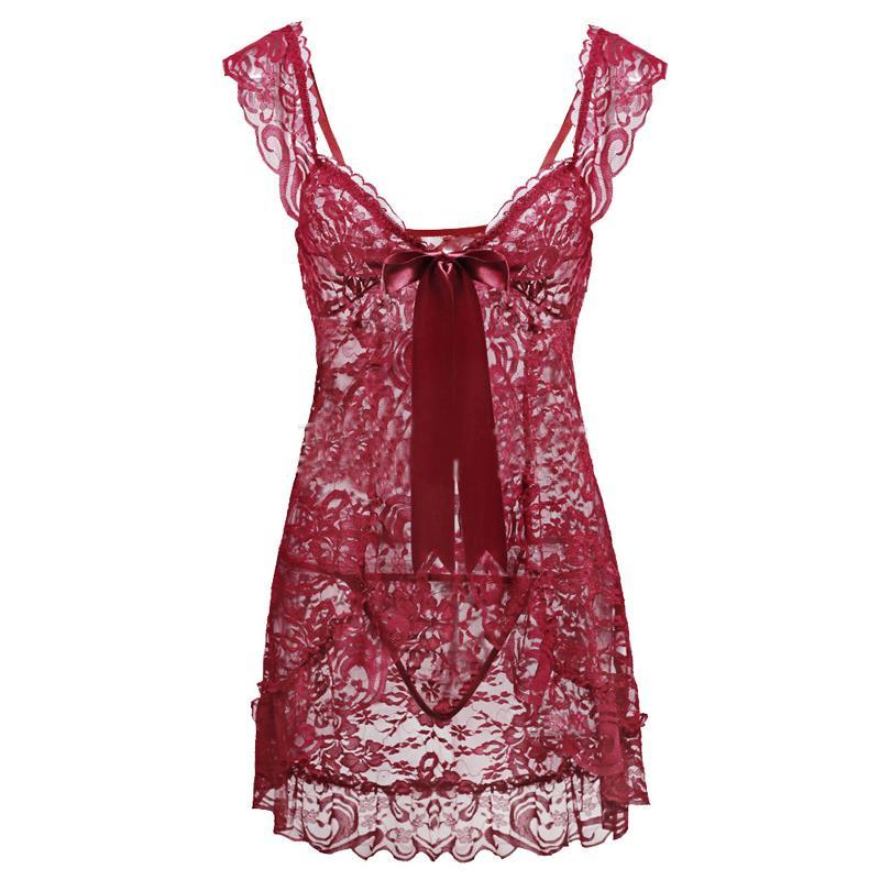 Womens-Lace-G-String-Lingerie-Babydoll-Nightgown-Underwear-Sleepwear-Plus-PP015