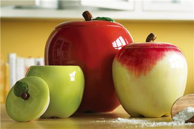 apple canisters for the kitchen 3 pc country apple shaped kitchen canister set new ebay 22909