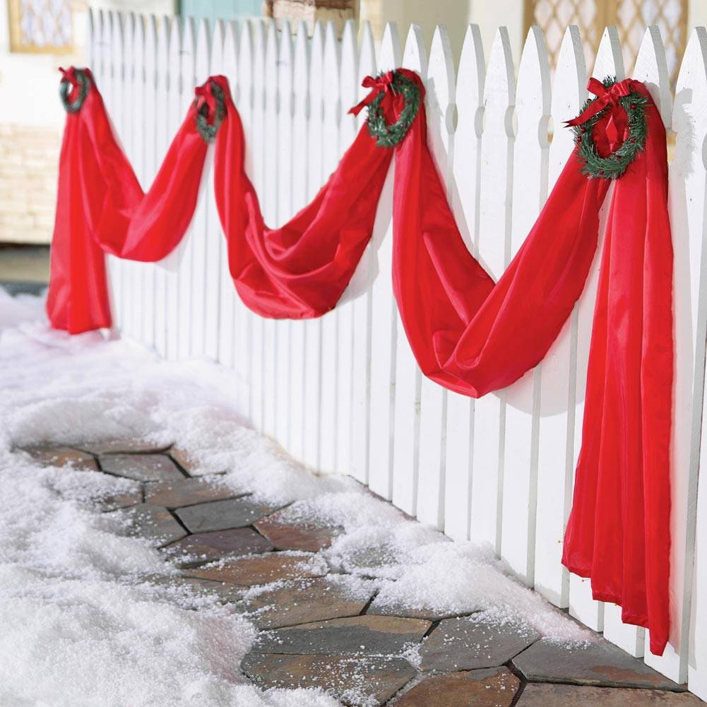 Christmas Swags Decorations: Giant Outdoor Christmas Ribbon Triple Swag Yard Decor W