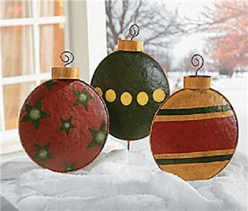 3 Pc Outdoor Metal Large Christmas Ornament Yard Garden