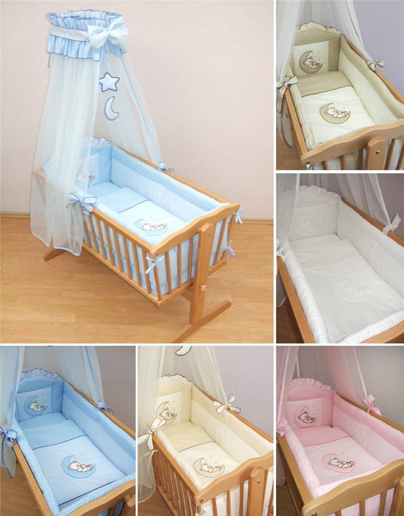 9 Piece Crib Baby Bedding Set 90 X 40 Cm Fits Swinging Rocking Cradle Moon