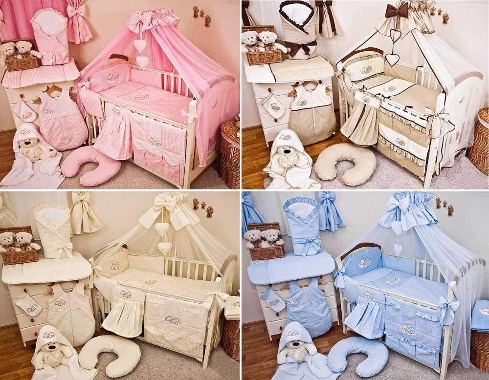 Luxury 10 Piece Baby Cot Bedding Set Cotbed Nursery Canopy Net Sleeping Bear Ebay
