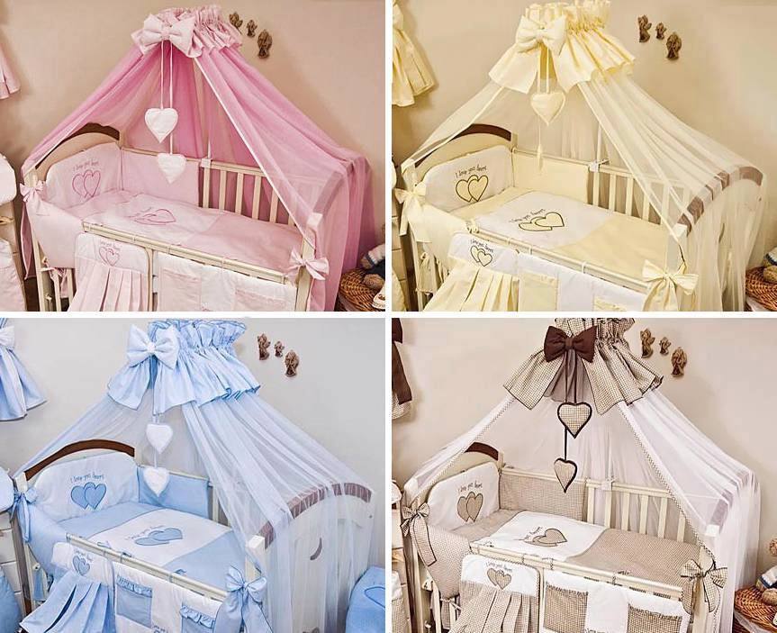 Luxury 15 Pcs Baby Nursery Cot Bedding Set Large Canopy Netting Plain Heart
