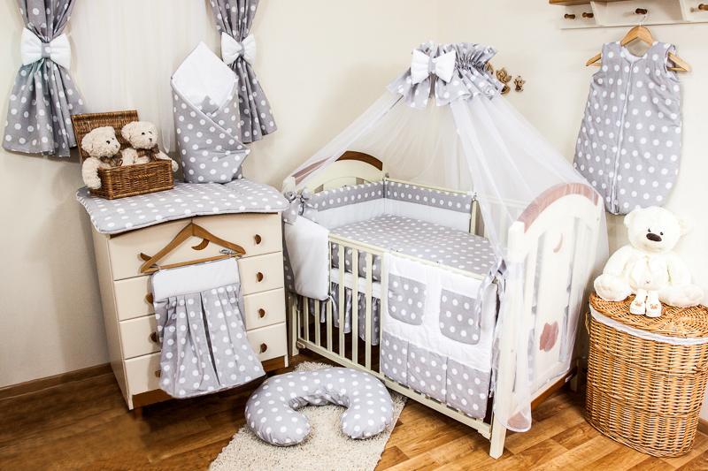 LUXURY NURSERY COT BEDDING SETS 11,12 or 15 PIECE POLKA DOTS BABY BED BUMPER SET