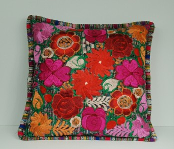 MEXICAN FOLK ART HANDMADE EMBROIDERY COLOR FLORAL PILLOW ...