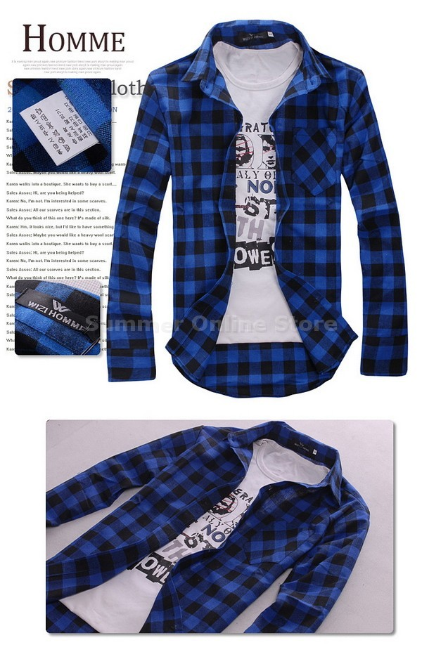 New Mens Slim Fit Casual & Dress Check Shirt Korean Style Blue Red