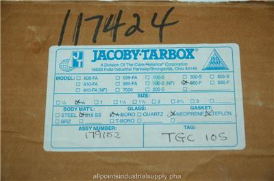 """Jacoby-Tarbox 860-F Stainless 316SS Tube Sight Glass Flow Indicator 1 1//2/"""" NOS"""
