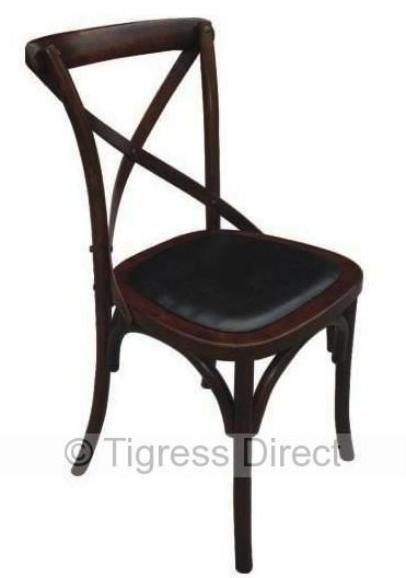 new zara rustic french style brown cross back timber dining chairs x set of 6 ebay. Black Bedroom Furniture Sets. Home Design Ideas