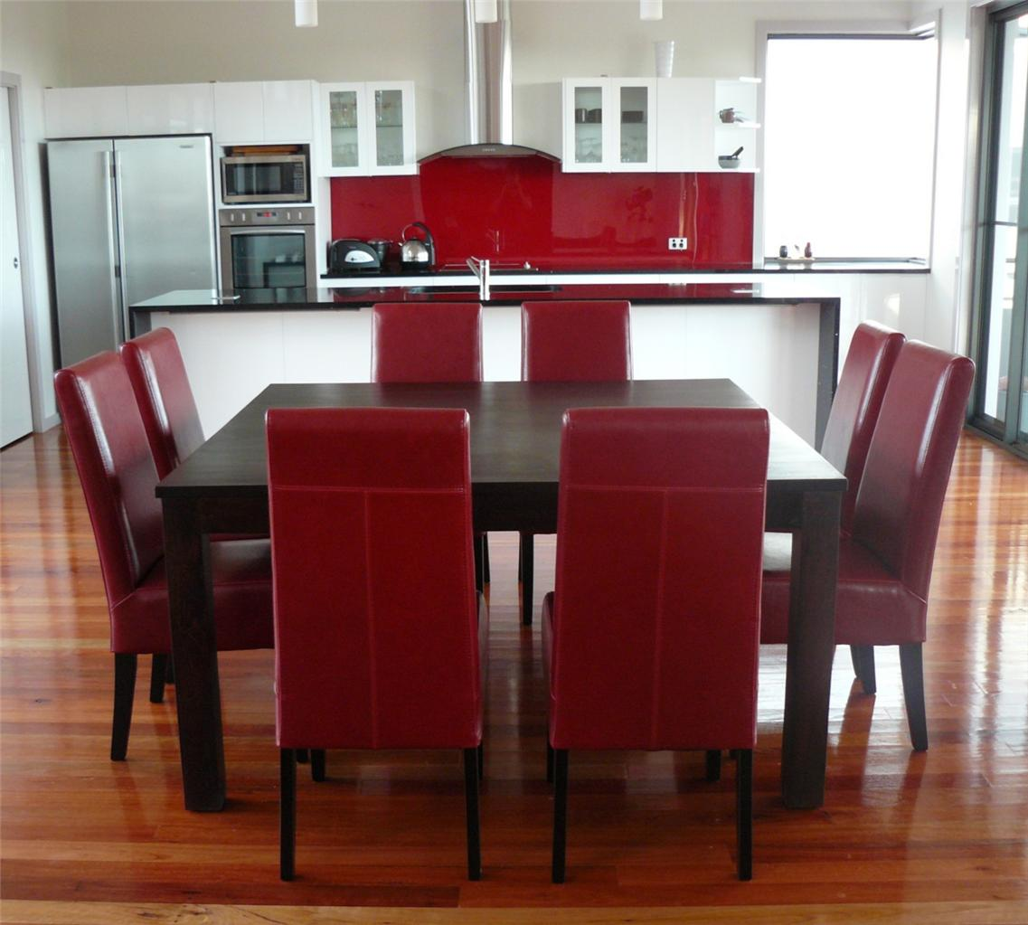 Red Dining Room Table And Chairs: NEW Chocolate Hardwood Timber Square Table 9 Piece Red