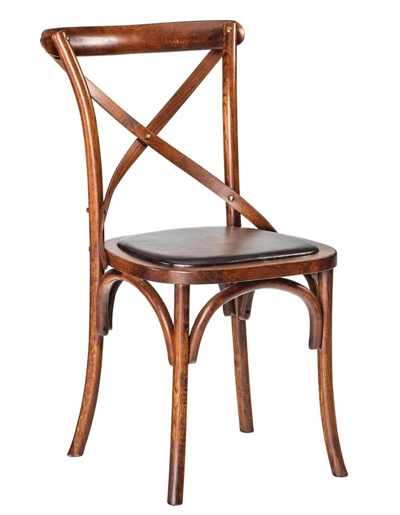 new zara rustic french bistro style timber cross back timber dining chair seat ebay. Black Bedroom Furniture Sets. Home Design Ideas
