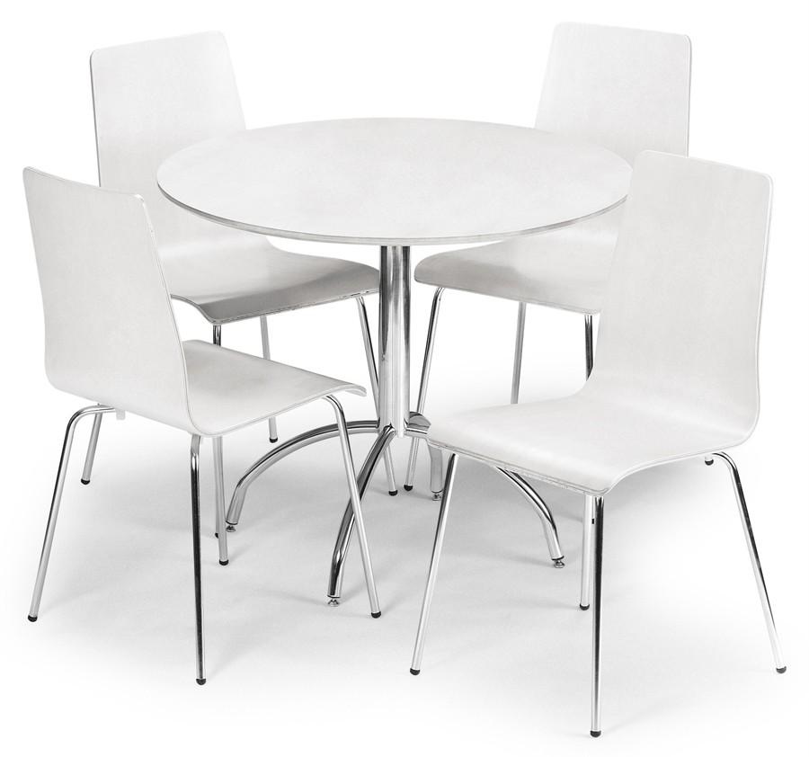 Black Round Dining Table Set: Modern Design White/Maple/Black/Brown 90cm Round Dining