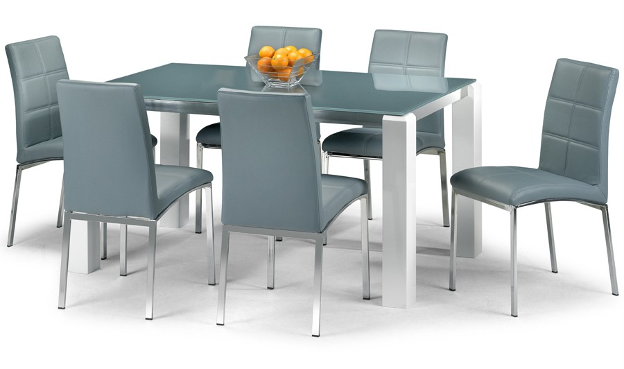 Modern Grey Glass Dining Table Set With High Gloss White