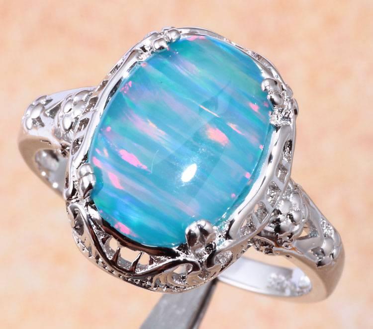Noble Rainbow / Blue Opal Women Jewelry Gemstone Silver ...