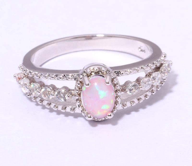 Pink Fire Opal & Zircon Women Jewelry Gemstone Silver Ring ...