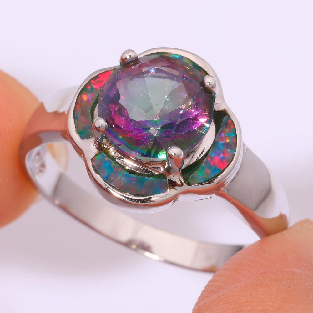 Rainbow Fire Opal Rainbow Topaz Silver Women Jewelry