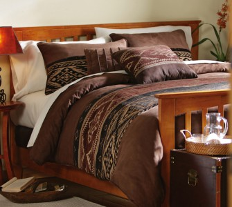 Southwestern Style Queen Size Comforter Set With Shams And