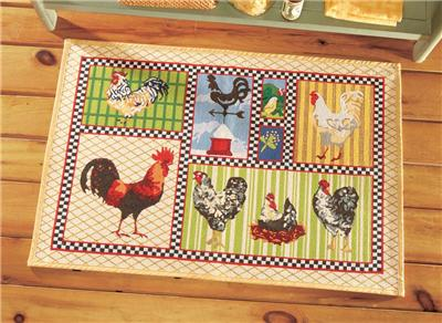 Country Rooster Patchwork Quilt Tapestry Design Kitchen