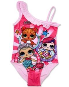 LOL Characters Original Girls Swimsuits One Piece Swimwear LOL Surprise Swimming Costume with Skirt 4-10 Years