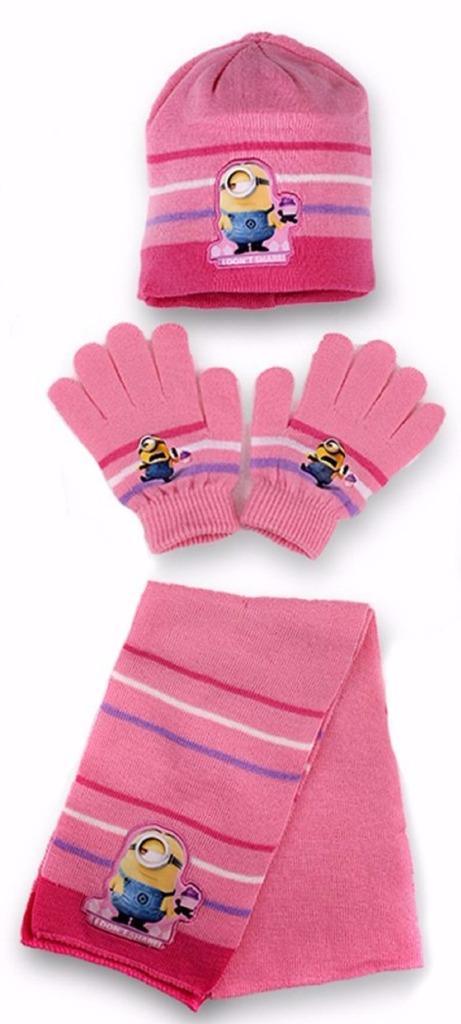... sciarpa e guanti set raffigurante la sempre popolare minions I motivi  sono ricamati al cappello e guanti.100 % acrilicoDisponibile in 3 colours. 114e8f367a55