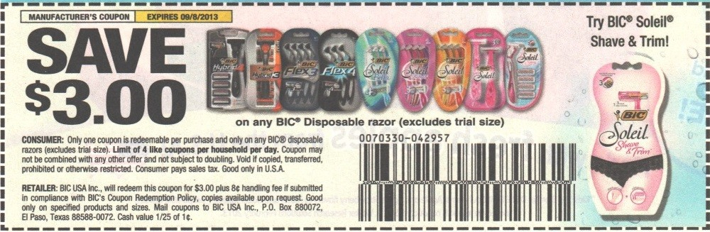 photograph regarding Printable Razor Coupons known as Bic disposable razor printable discount codes 2018 / Park n fly