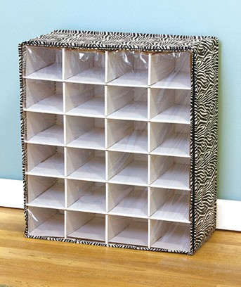 NEW 24 or 36 PAIR SHOE CUBBY CHEST WHITE OR ZEBRA STORAGE ...