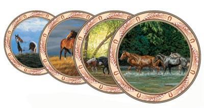 WESTERN COWBOY WILD HORSES 12 Pc Dinnerware Plate Bowl