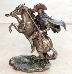 Veronese Art Roman Soldier Legionaire With Spear Horse Statue Figure
